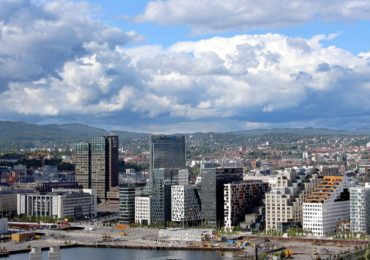 Downtown Oslo Norway where web designer Russell Morgan helps local companies